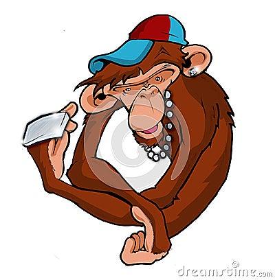 Free Hip Hop Monkey Ape Bling Royalty Free Stock Image - 962086
