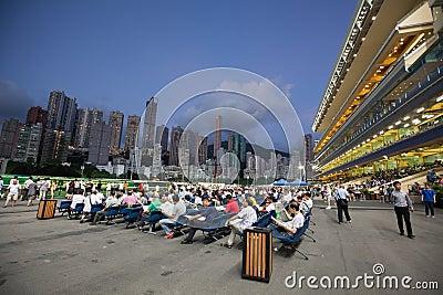 Hipódromo feliz del valle en Hong-Kong Fotografía editorial