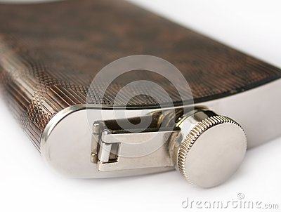Hipflask for alcohol on white