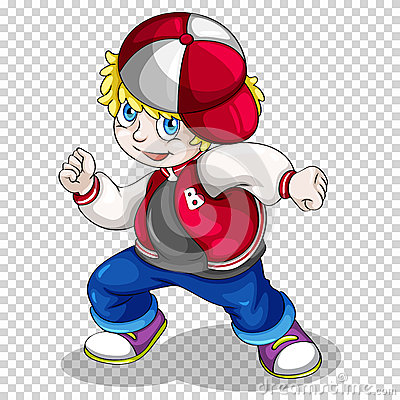 Hiphop boy in red jacket Vector Illustration
