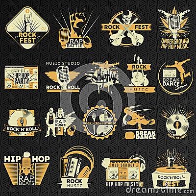 Hiphop Rock Emblem Set Vector Illustration