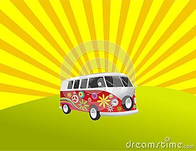 Hippie camper retro vintage van