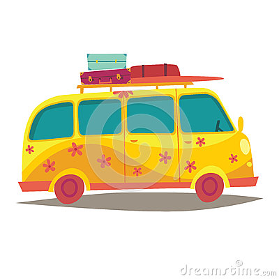 Hippie camper van. Travel by vintage yellow bus. Woodstock lifestyle. Tourism, summer holiday Vector Illustration