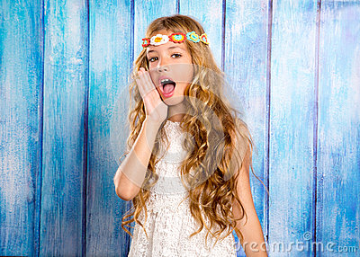 Hippie children girl shouting expression with hand in mouth