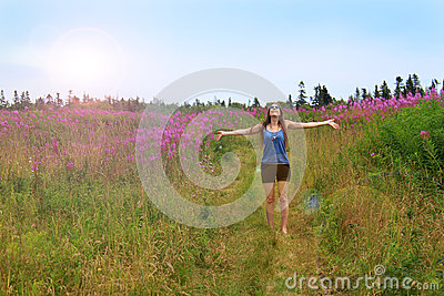 Hippie girl in field