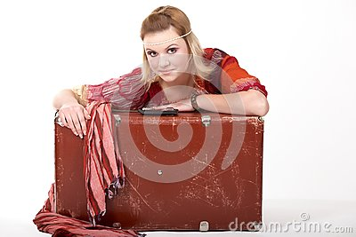 Hippie girl and Old  Suitcase