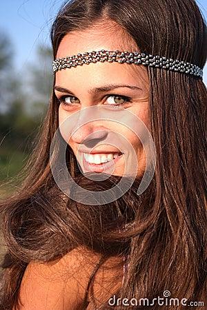 Hippie girl outdoors portrait