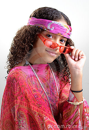 Hippie girl tipping glasses