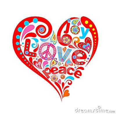 Hippie heart Vector Illustration