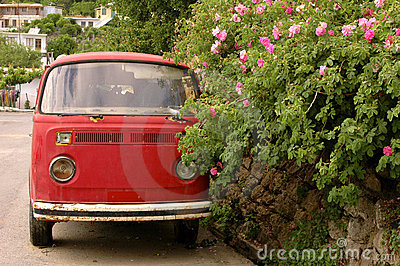 Hippie peace and love van