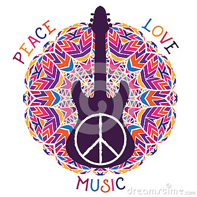Hippie peace symbol. Peace, love, music sign and guitar on ornate colorful mandala background. Vector Illustration