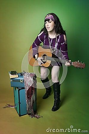 Hippie Woman Playing Guitar