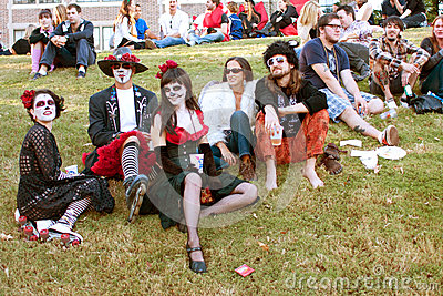 Hippie Zombies Relax And Drink Beer After Halloween Parade Editorial Stock Image