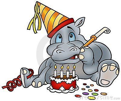 Hippo and Birthday Cake