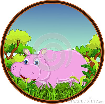 Hippo with forest background