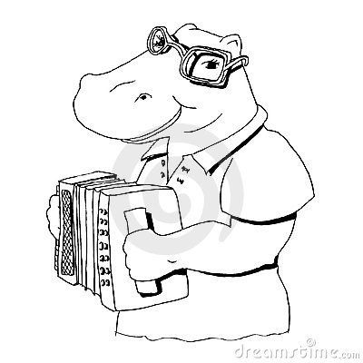 Hippopotamus singing at the accordion
