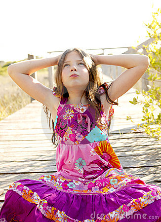 Free Hippy Purple Dress Teen Girl Relaxed Outdoors Royalty Free Stock Photos - 8707168