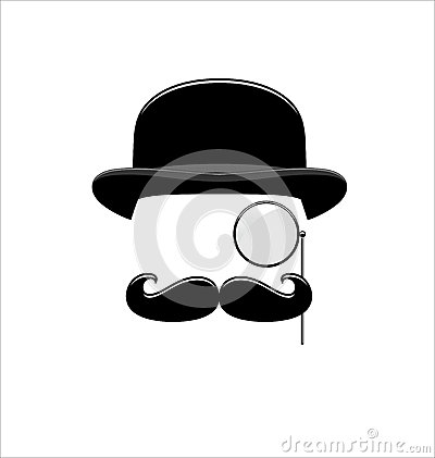 6ace9ff565c5c Hipster Black and White. Monocle. Mustaches. Hat. Vector Illustration