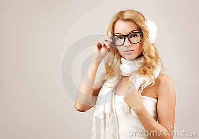Hipster Blonde Girl on Beige Background