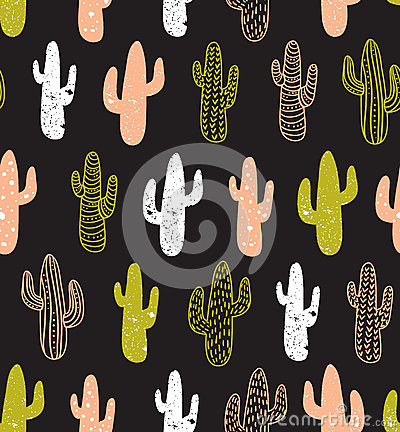 Free Hipster Cactus Seamless Pattern. Cacti Tribal Boho Background. Fabric Print Design. Royalty Free Stock Photos - 71315898