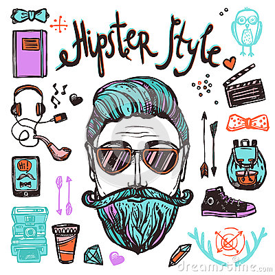 Free Hipster Cartoon Sketch Concept Stock Images - 56575394