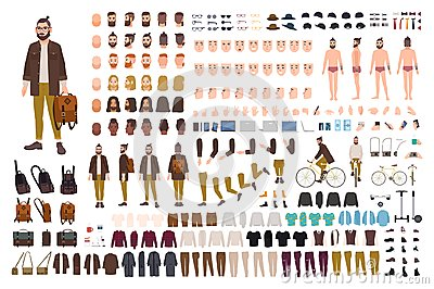 Hipster creation kit. Set of flat male cartoon character body parts, skin types, facial gestures, hairstyles, trendy Vector Illustration