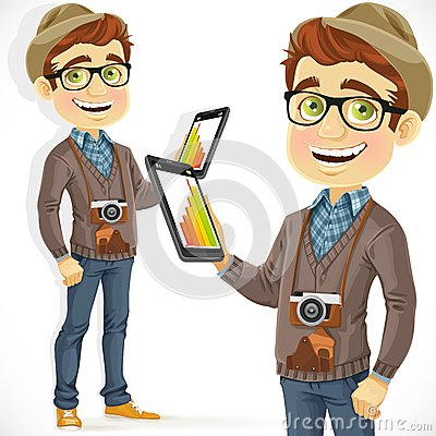 Hipster guy in hat with a tablet computer