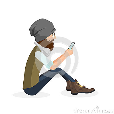 Free Hipster Handsome Young Man Sitting And Using Mobile Smart Phone Royalty Free Stock Photos - 84187598
