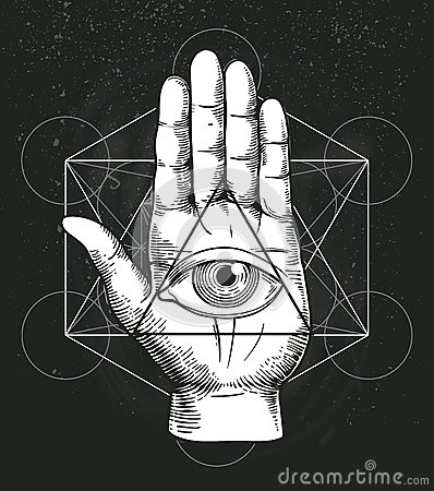 Free Hipster Illustration With Sacred Geometry, Hand, And All Seeing Eye Symbol Inside Triangle Pyramid. Masonic Symbol. Royalty Free Stock Photos - 75488878