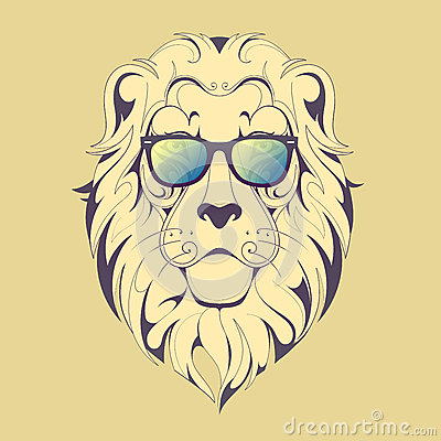 Hipster lion drawing - photo#9