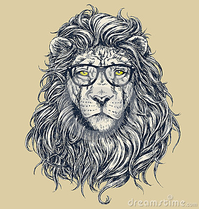 Hipster lion vector illustration. Glasses separated. Vector Illustration