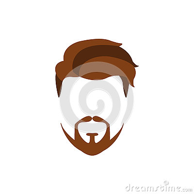 Hipster Male Hair And Facial Style With Extended Goatee Vector