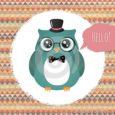 Free Hipster Owl In Textured Frame Design Illustration Stock Photography - 36410682