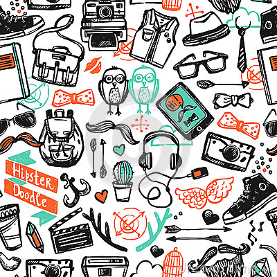 Free Hipster Sketch Seamless Pattern Royalty Free Stock Photos - 56903658