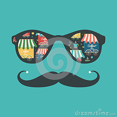 Free Hipster Vintage Sunglasses With Coffee Shops And Cups. Royalty Free Stock Photos - 47252828
