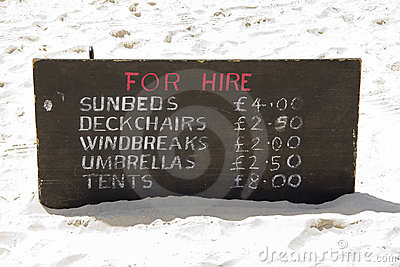 For hire on the beach