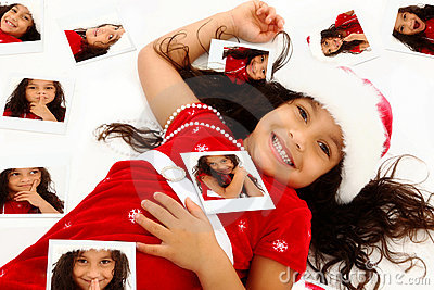 Hispanic African American Child Christmas Portrait
