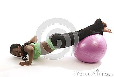 Hispanic african american woman exercising