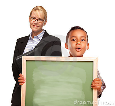 Hispanic Boy Holding Blank Chalk Board and Teacher