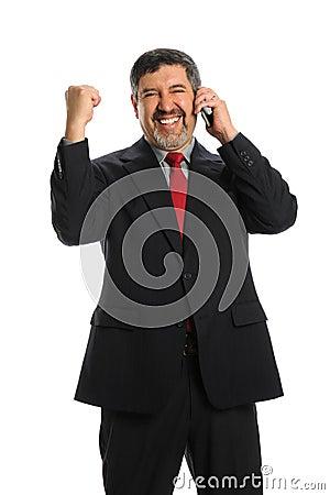 Hispanic Businessman Celebrating