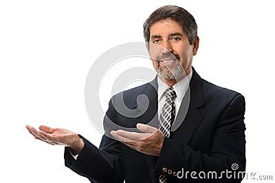 Hispanic Businessman Gesturing
