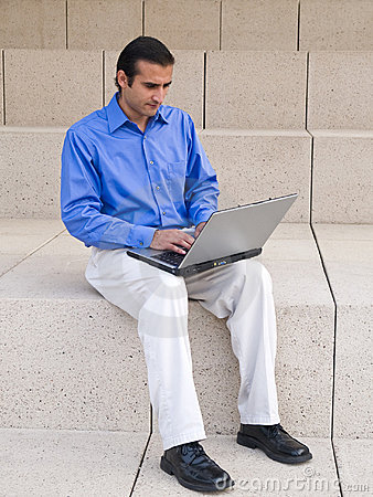 Hispanic businessman - laptop