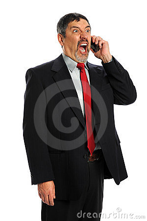 Hispanic Businessman Screaming in Phone