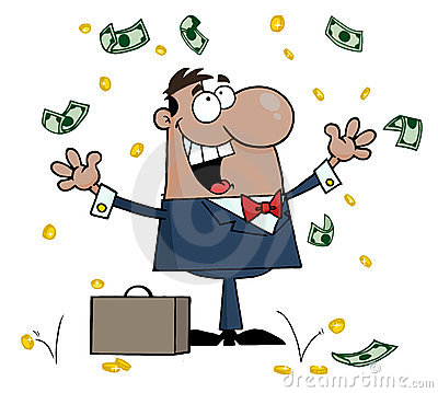 Hispanic businessman standing under falling money