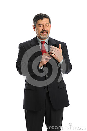Hispanic Businessman Using Cellphone