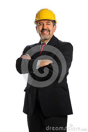 Hispanic Businessman Wearing Hardhat