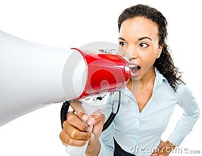 Hispanic businesswoman shouting megaphone loudspeker