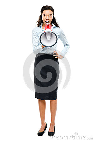 Hispanic businesswoman shouting megaphone loudspeker white