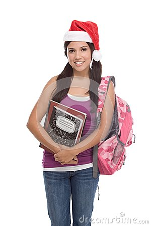 Hispanic college student girl in Christmas hat
