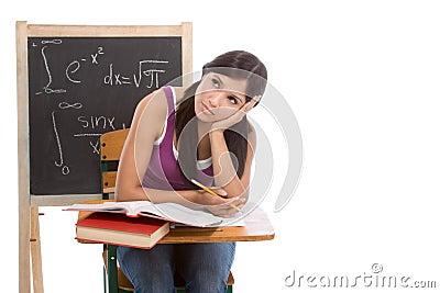 Hispanic college student woman studying math exam
